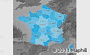 Political Shades Map of France, darken, desaturated