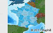 Political Shades Map of France, darken, land only