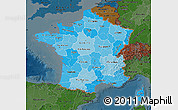 Political Shades Map of France, darken
