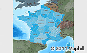 Political Shades Map of France, darken, semi-desaturated, land only