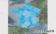 Political Shades Map of France, darken, semi-desaturated