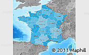 Political Shades Map of France, desaturated, land only
