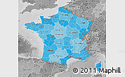 Political Shades Map of France, desaturated