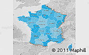 Political Shades Map of France, lighten, desaturated