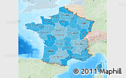 Political Shades Map of France, lighten, land only