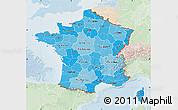 Political Shades Map of France, lighten