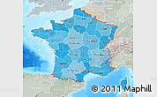 Political Shades Map of France, lighten, semi-desaturated, land only