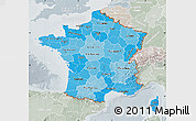 Political Shades Map of France, lighten, semi-desaturated