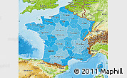 Political Shades Map of France, physical outside