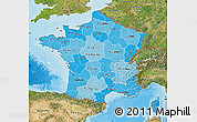 Political Shades Map of France, satellite outside, bathymetry sea