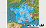 Political Shades Map of France, satellite outside
