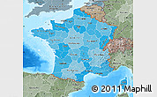 Political Shades Map of France, semi-desaturated, land only