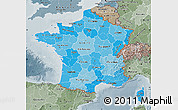 Political Shades Map of France, semi-desaturated