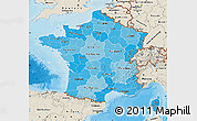 Political Shades Map of France, shaded relief outside, bathymetry sea