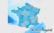 Political Shades Map of France, single color outside, bathymetry sea