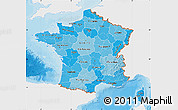 Political Shades Map of France, single color outside