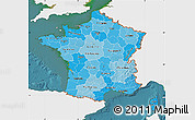 Political Shades Map of France, single color outside, satellite sea
