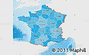 Political Shades Map of France, single color outside, shaded relief sea