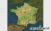 Satellite Map of France, darken