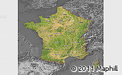 Satellite Map of France, desaturated