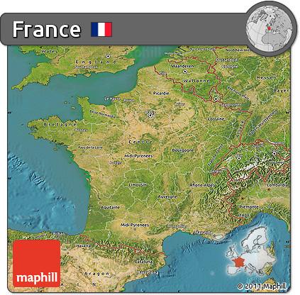 Satellite Map of France