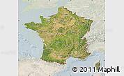 Satellite Map of France, lighten