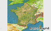 Satellite Map of France, physical outside, satellite sea