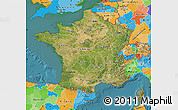 Satellite Map of France, political outside, satellite sea
