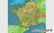 Satellite Map of France, political shades outside, satellite sea