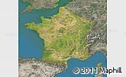 Satellite Map of France, semi-desaturated, land only