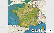 Satellite Map of France, shaded relief outside, satellite sea
