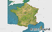 Satellite Map of France, single color outside