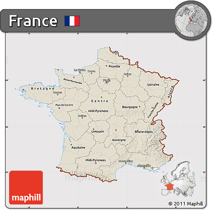 Shaded Relief Map of France, cropped outside