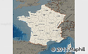 Shaded Relief Map of France, darken