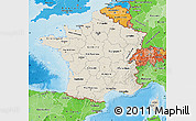 Shaded Relief Map of France, political shades outside, shaded relief sea