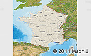 Shaded Relief Map of France, satellite outside, shaded relief sea