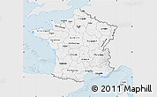 Silver Style Map of France, single color outside