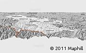 Gray Panoramic Map of Foix
