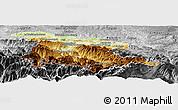 Physical Panoramic Map of Foix, desaturated