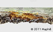 Physical Panoramic Map of Foix, semi-desaturated
