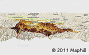 Physical Panoramic Map of Foix, shaded relief outside
