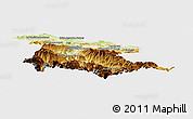 Physical Panoramic Map of Foix, single color outside