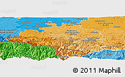 Political Shades Panoramic Map of Ariege