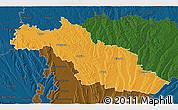 Political 3D Map of Mirande, darken