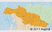 Political 3D Map of Mirande, lighten