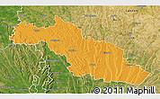 Political 3D Map of Mirande, satellite outside