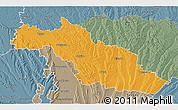 Political 3D Map of Mirande, semi-desaturated