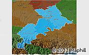 Political Shades 3D Map of Haute-Garonne, darken