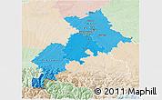 Political Shades 3D Map of Haute-Garonne, lighten