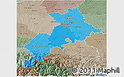 Political Shades 3D Map of Haute-Garonne, semi-desaturated